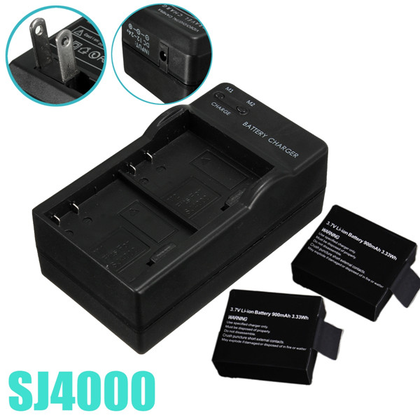 2 Dual Camera Battery Charger Travel Wall Adapter US For SJ4000 Car DVRs