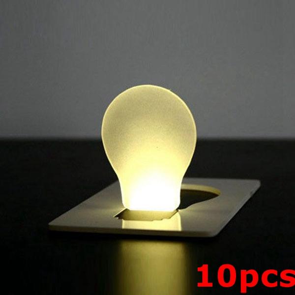 10pcs Portable LED Card Light Pocket Lamp Purse Wallet Emergency Light Camping & Hiking