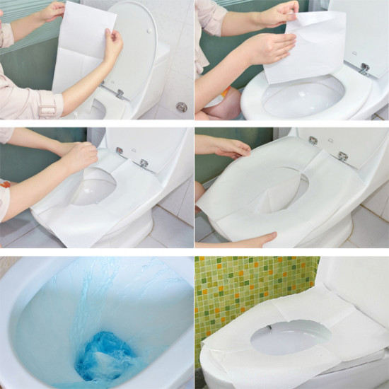 1 Pack 10Pcs Clean Disposable Paper Sanitary Toilet Seat Covers Camping Travel 2021
