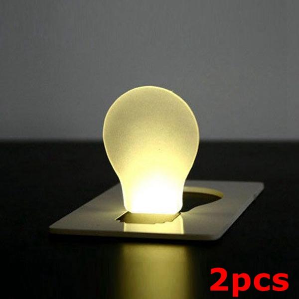 2pcs Portable LED Card Light Pocket Lamp Purse Wallet Emergency Light Camping & Hiking