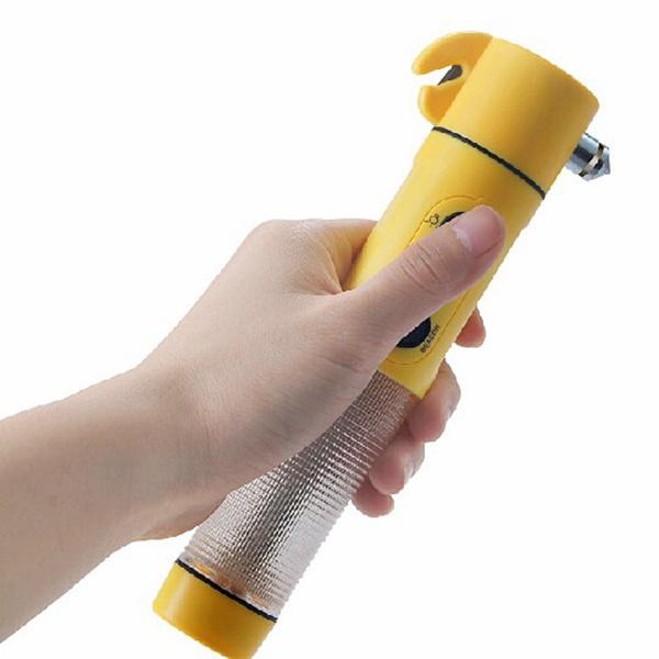 4in1 Survival Hammer Flashlight Warning Light Belt Breaker with Magnet Camping & Hiking