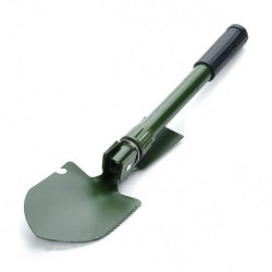Outdoor Metal Folding Shovel with Pouch and Compass Green