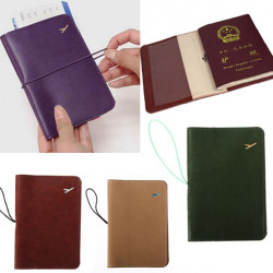 Traveling Leather Passport Card Case Document Holder