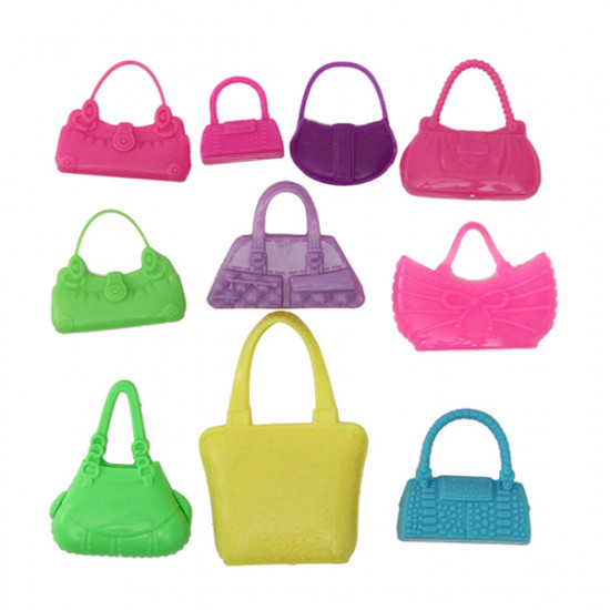 10pcs Mix Fashion Accessories Handbag For Barbie Doll Cute Toy 2021