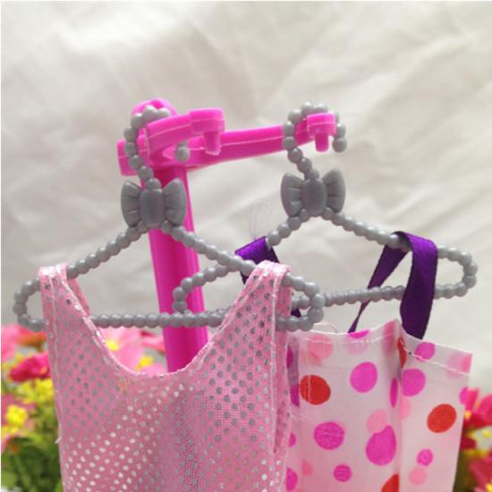 12 PCS Plastic Mini Clothes Hanger for Barbie Doll Clothes Accessories 2021