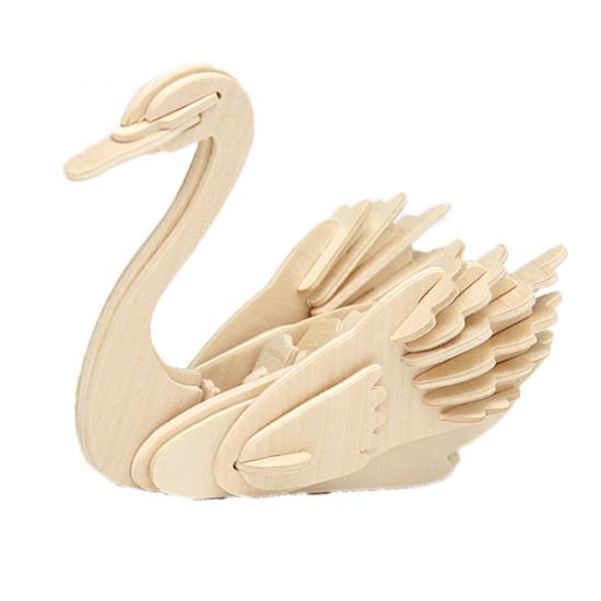 3D Animal Swan Model Wooden Puzzle DIY Woodcraft Kit Handmade 2021