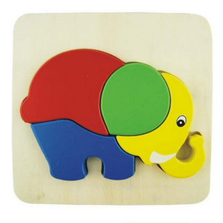 3D Wooden Puzzle Educational Kids Toy Elephant Family Multicolor