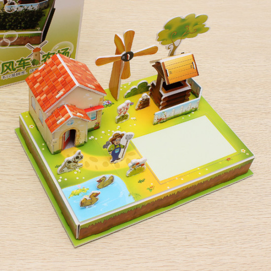 3D DIY Puzzle Wind Farm Anion Plants With Seed 2021