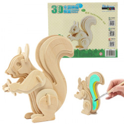 3D Jigsaw Puzzle Wooden Wisdom Animal Squirrel Educational Toy