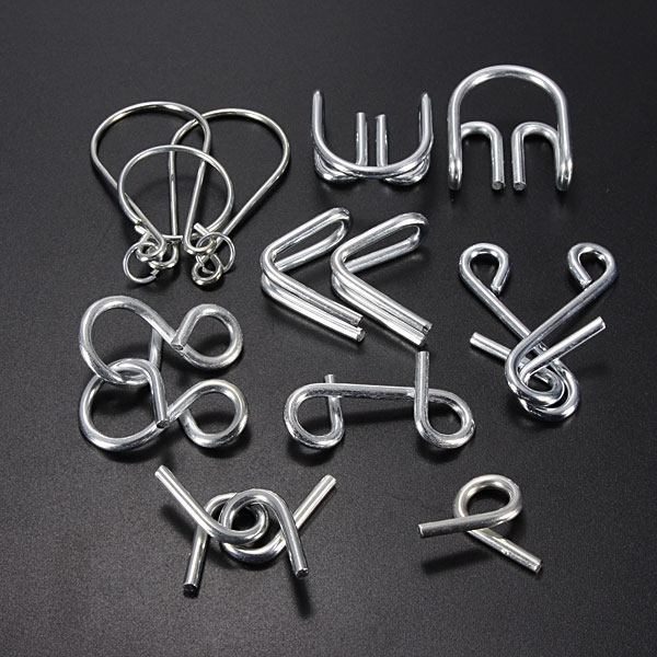 7 Sets IQ Test Toys Mind Game Brain Teaser Metal Wire Puzzles Educational Toys
