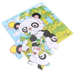 9Pcs Wooden Panda Puzzle Educational Baby Kids Training Toy