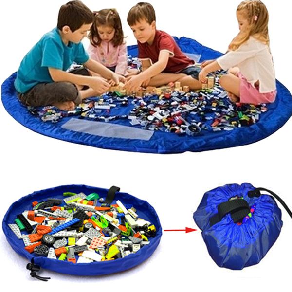 Blue Portable Kids Toys Storage Bag Play Mat Toy Organizer Rug Box Educational Toys