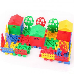 Children Educational Toys DIY Building Plastic Blocks Colorful House