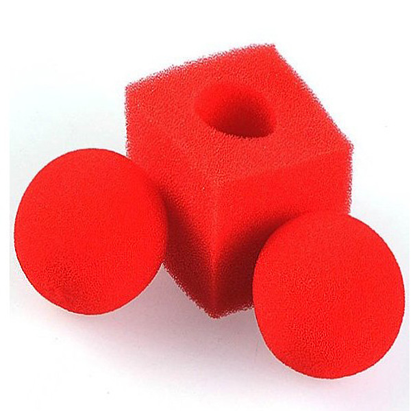 Kingmagic Magic Ball To Square Sponges Tricks Set Red Game & Scenery Toy