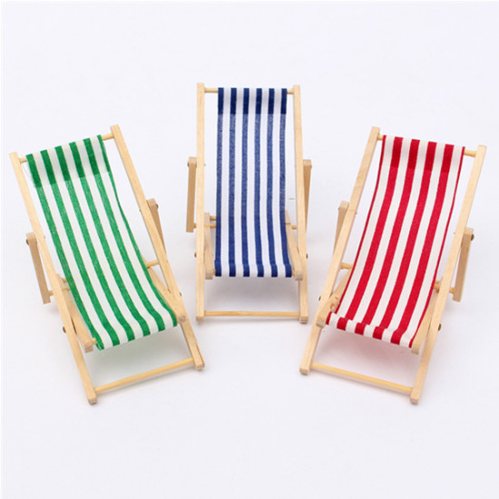 Lovely Dolls House 1:12 Scale Miniature Foldable Wooden Deckchair 2021