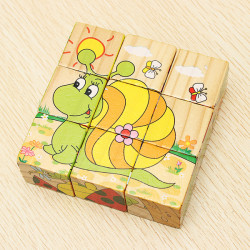 Wooden 3D Cartoon Insect Puzzle Wisdom Jigsaw Child Education Toy
