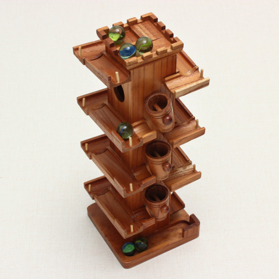 Wooden Slide Block Rail Car With Glass Beads Educational Toy 2021