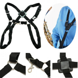 Black Adjustable Tenor Baritone Sax Harness Double Shoulder Strap
