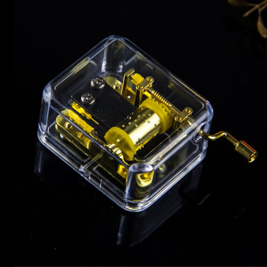 Castle In The Sky Hand Crack Transparent Golden Square Music Box 2021