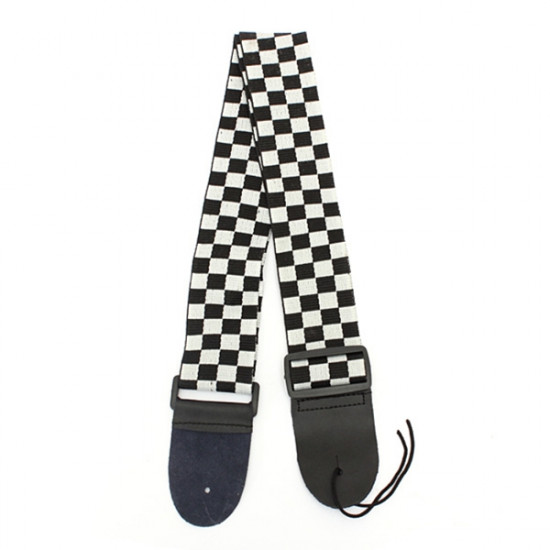 Guitar Strap Black & White Checkerboard Nylon Leather 2021