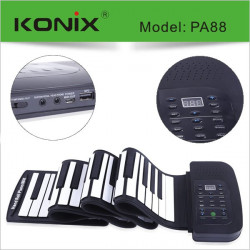 KONIX 88 Key MIDI Flexible Silicone Electronic Roll Up Piano PA88