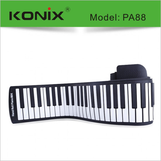 KONIX 88 Key MIDI Flexible Silicone Electronic Roll Up Piano PA88 2021