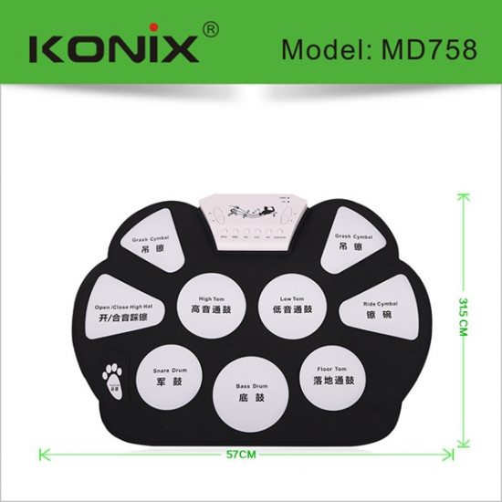 KONIX Foldable Silicon Electronic Roll Up MIDI Drum MD758 2021