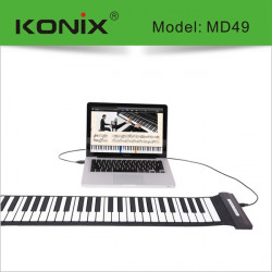 KONIX USB 49 Key MIDI Flexible Silicone Electronic Roll Up Piano MD49