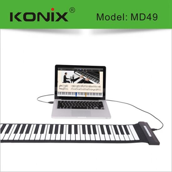 KONIX USB 49 Key MIDI Flexible Silicone Electronic Roll Up Piano MD49 2021