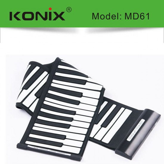 KONIX USB 61 Key MIDI Flexible Silicone Electronic Roll Up Piano MD61 2021