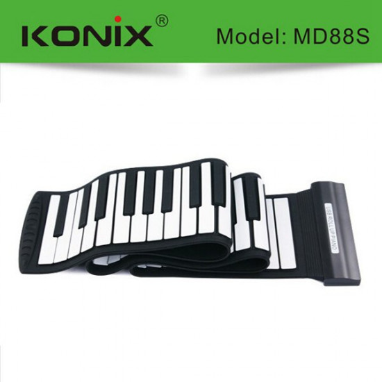 KONIX USB 88 Key MIDI Flexible Silicone Electronic Roll Up Piano MD88S 2021