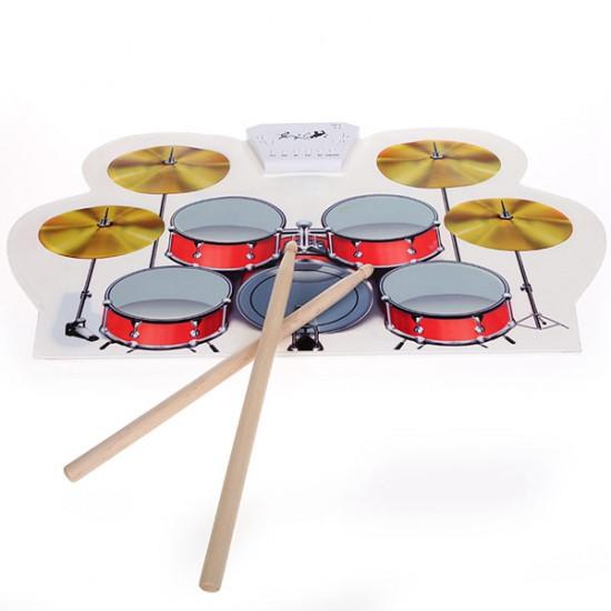 KONIX USB MIDI Drum Kit PC Desktop Silicone Electronic Roll Up Drum MD1008 2021