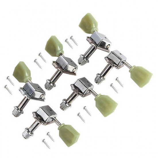 Kluson 6 In 1 Style Tuning Keys Tuners Head Pegs Chrome Green Head 2021
