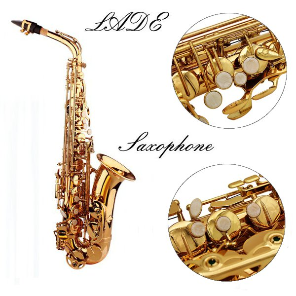 LADE Alto Eb Golden Saxophone Sax Paint Gold With Case & Accessories Musical Instruments