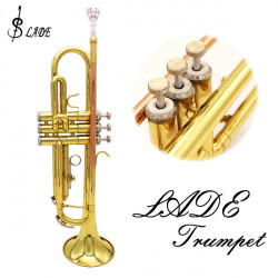 LADE Bb Copper Golden Trumpet Brass Band With Glove Brush Clean Cloth