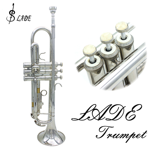 LADE Bb Silver Trumpet Brass Band With Gloves Brush Clean Cloth Musical Instruments