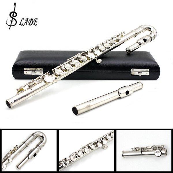 LADE Children U Flute 16 Holes C Tone Obturator Bending Flute Sliver Musical Instruments