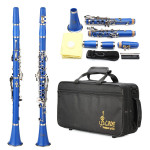 LADE Nickel Plating ABS 17 Key B♭ Binocular Clarinet Blue Musical Instruments