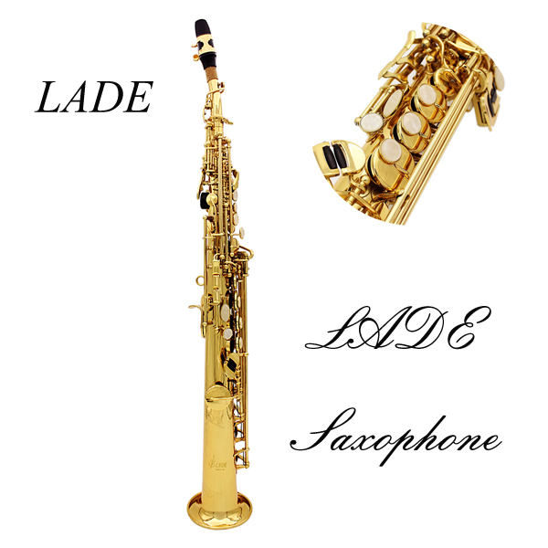 LADE Saxophone Bb Soprano Saxophone Paint Gold With Case & Accessories Musical Instruments
