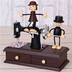 Lovely Doll Push Sewing Machine Clockwork Music Box