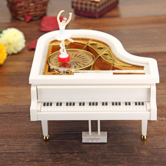 Mechanical Classical Piano Music Box Dancing Ballerina White 2021