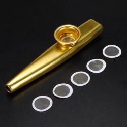 Metal Kazoo Golden & Kazoo Flute Diaphragm Mouth Flute Harmonica