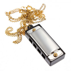 Mini 4 Hole 8 Tone Harmonica Sound With 34cm Necklace Golden