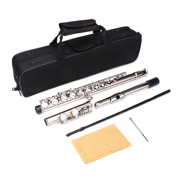 New LADE Silver Plated 16 Closed Holes C Key Flute Musical Instruments