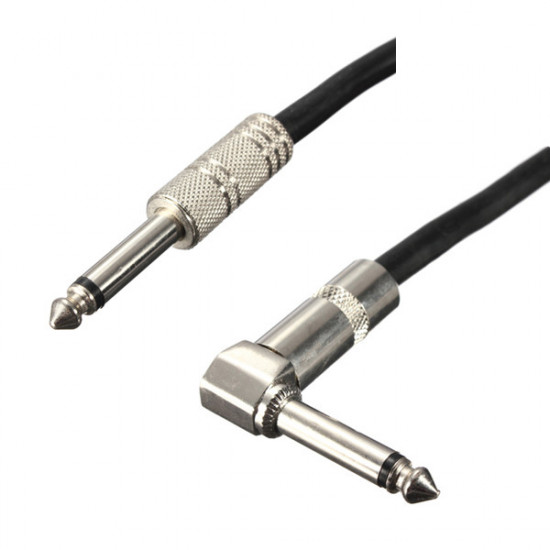"""Right Angle to Straight 6.35mm 1/4"""" Guitar Cable Lead 20ft 6M 2021"""