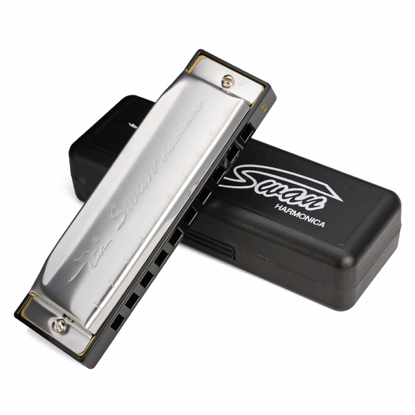 Swan 10 Hole Key Of C Blues Harmonica SW1020-10 Musical Instruments