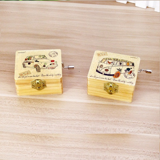 Wooden Cranked Vintage Postbox Bus Music Box Birthday Gift 2021