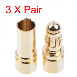 3x Gold Plated Bullet Banana Connector Plug For ESC Battery Motor