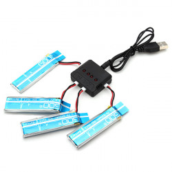 4 x WLtoys V977 V930 3.7V 520MAH Upgrade Battery With Charger