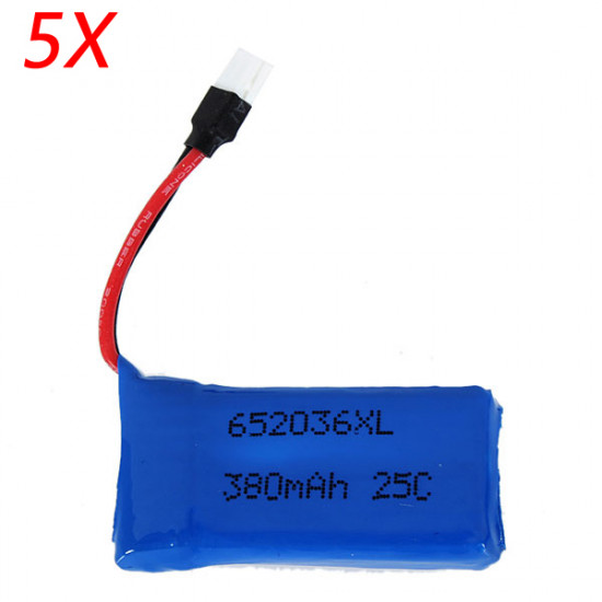 5 x Upgraded 25C 3.7V 380MAH Battery For Hubsan H107 X4 Ladybird 2021